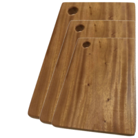 3x Hard Wood Hygienic Cutting Wooden Chopping Board Natural Kitchen Block