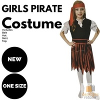 GIRLS PIRATE COSTUME Kids Fancy Dress Halloween Party Book Week Outfit Carribean