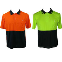 HI VIS Polo Shirt Top Tee Safety Workwear Short Sleeve Breathable Micro Mesh New