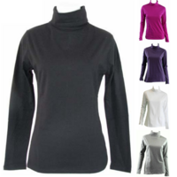 Ladies SKIVVY Women's Long Sleeve Plain Top Warm Turtleneck Cotton High Neck