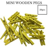 50pcs MINI WOODEN PEGS Natural 25mm Craft Baby Shower Clothes Line Pin BULK