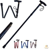 Adjustable Metal WALKING STICK Travel Cane Folding Pole Compact Retractable Hike