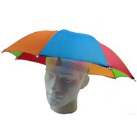 RAINBOW UMBRELLA HAT Rain Novelty Cap Costume Outdoor Camping Beach Fishing New