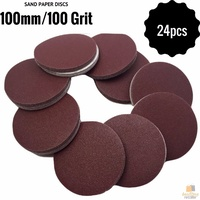 "24pcs 100mm 4"" Sandpaper Discs 100 Grit Sanding Sheets Sand Paper BULK New"
