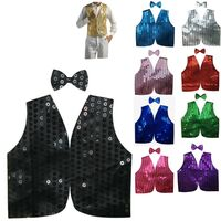 Men's SEQUIN VEST Dance Costume Party Coat Disco Accessory Sparkle Waistcoat