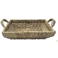 SEAGRASS BASKET w Handles Rectangular Tapered Natural Woven Tray Storage Straw