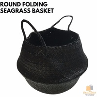ROUND BELLY SEAGRASS FOLDING BASKET BLACK Home Storage Wicker Collapsible