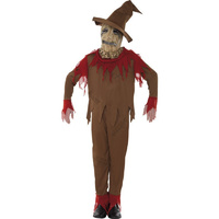 TEEN PUMPKIN SCARECROW COSTUME Halloween Scary Childrens Kids Dress Up Party