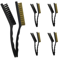 10pcs LARGE WIRE BRUSH SET Steel Cleaning Nylon Brushes Brass Metal Tools 21cm