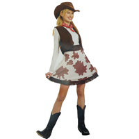 Womens COWGIRL COSTUME Dress Fancy Wild West Ladies Rodeo Indian Cowboy