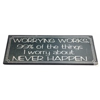 Worrying Works Motivational Quote Wooden Sign Plaque Hanging Positive Vibes New