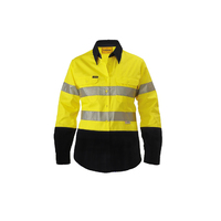 Bisley Men's 3M Taped Two-Tone Hi Vis Cool Long Sleeve Shirt - Yellow/Black