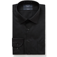 Van Heusen Euro Tailored Fit Herringbone Self Stripe Shirt Long Sleeve - Black