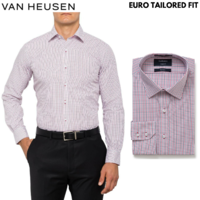 VAN HEUSEN Men's Long Sleeve Business Shirt Euro Tailored Fit - Small Check Red
