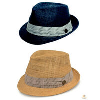 GOORIN BROTHERS Coolridge Trilby Fedora Straw Cotton Hat Bros 100-4821 A-Crown