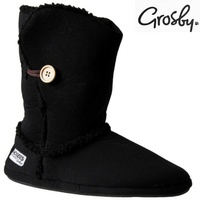 GROSBY Sherpa Button Hoodie Boots Plush Slippers Warm Snug Winter Shoes