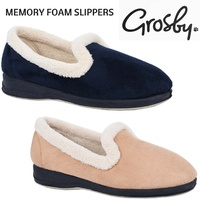 GROSBY Blossom Memory Foam Slippers Padded Fleece Lining Slip On Shoes