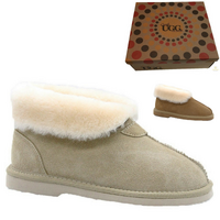 GROSBY Women's Princess UGG Boots Genuine Sheepskin Suede Leather Slippers