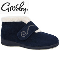 Grosby Blush Memory Foam Insole Moccasin Slippers Ankle Boots Adjustable - Navy