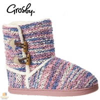 GROSBY Invisible Knit Slip On Boots Womens Slippers Warm Fur Shoes Moccasins