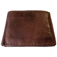 Genuine Washed Cow Hide Leather Wallet HANDMADE Bifold Card Holder - Brown
