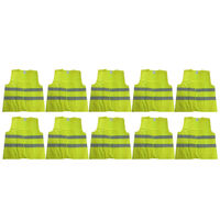 10x Hi Vis Safety VEST Reflective Tape Workwear Yellow ONE SIZE Night & Day BULK