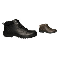 HUSH PUPPIES ANNUAL Leather Lace Up Boots Shoes Casual Work Outdoor Wide Comfort