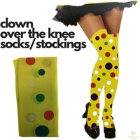 Ladies Polka Dota OVER THE KNEE SOCKS Stockings Clown Costume Party
