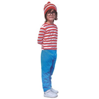 Boys RED & WHITE STRIPED COSTUME SET Party Hat Stripe Top Pants Kids Book Week