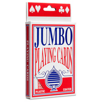 JUMBO PLAYING CARDS Full Deck Red Poker Plastic Coated 8.5 x 12cm King Big Size
