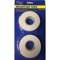 2pcs MOUNTING TAPE Double Sided Foam Adhesive 2M x 18mm - White