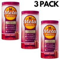 3x Metamucil 673g Multi-Health Fibre W 100% Natural Psyllium Husk - Wild Berry