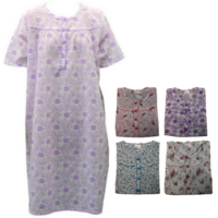 Women's 100% Cotton Short Sleeve Nightie Gown Night Sleepwear Pyjamas PJ Pajamas