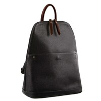 Milleni Ladies Genuine Italian Leather Backpack Bag Twin Zip - Black/Cognac