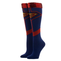 Superman SuperGirl Superwoman Sequin Cuff Knee High Socks Official Licensed - Size 9-11