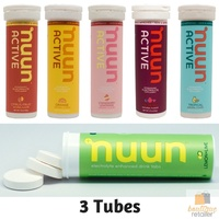 NUUN Electrolyte Active Hydration Tabs Sports Drink 3 Tubes 30 Tablets Bulk Pack