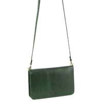 Pierre Cardin Ladies Clutch Leather Wallet Purse Cross Body Bag RFID Protected - Emerald