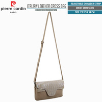 Pierre Cardin Italian Leather Cross Body Bag Shoulder Sling Bag - Taupe