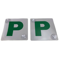 2x GREEN P PLATES Stay-Put Suction Disks Probationary Car Window Signs NSW