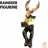 33cm SITTING RAINDEER FIGURINE Ornament Statue Garden Sculpture Home Decor New