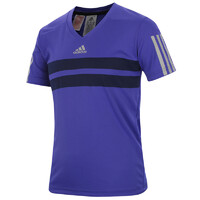 Adidas Boy's Andy Murray Barricade T-Shirt Purple V-Neck Tee Sports Athletic