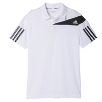 Adidas Boy's Barricade Response Polo T-Shirt White/Black Tennis Sports