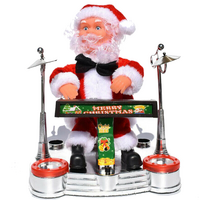Santa Claus Playing Ornament Piano Doll Musical Electric Toy Xmas Gift