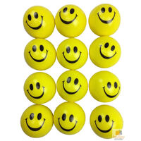 12x YELLOW STRESS BALLS Hand Relief Squeeze Toy Reliever Antistress Soft Smiley
