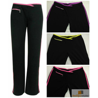 Womens TRACK PANTS Gym Jogging Stretch Bottoms w Stripes Ladies YOGA Trackies