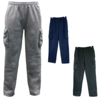 Men's Cargo Track Pants Casual Jogging Fleece Trackies Warm Winter Trousers