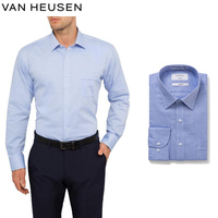 Van Heusen Classic Relaxed Fit Shirt Solid Long Sleeve Men's - Blue