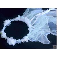 Hen's Party Veil White Bride To Be Headband Flowers Bridal Shower Bachelorette