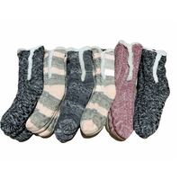 1 Pair Ladies Thick Fur Bed Socks Womens Sherpa Fluffy Non Slip - Side Line